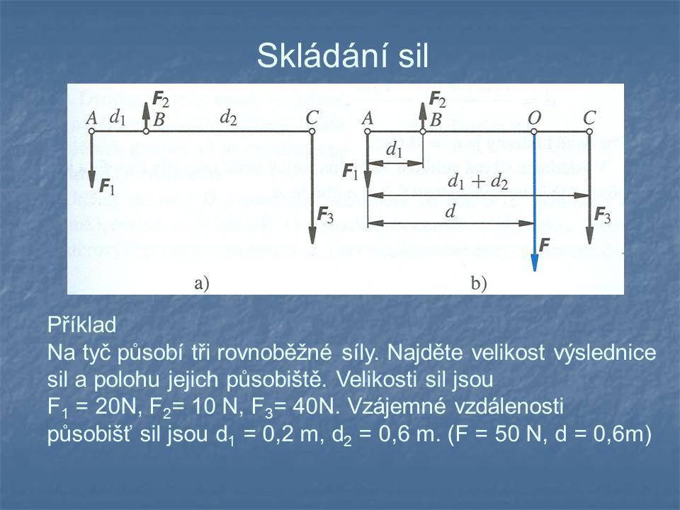 Skládání sil Příklad Na tyč působí tři rovnoběžné síly. Najděte velikost výslednice sil a polohu jejich působiště. Velikosti sil jsou F 1 = 20N, F 2 =