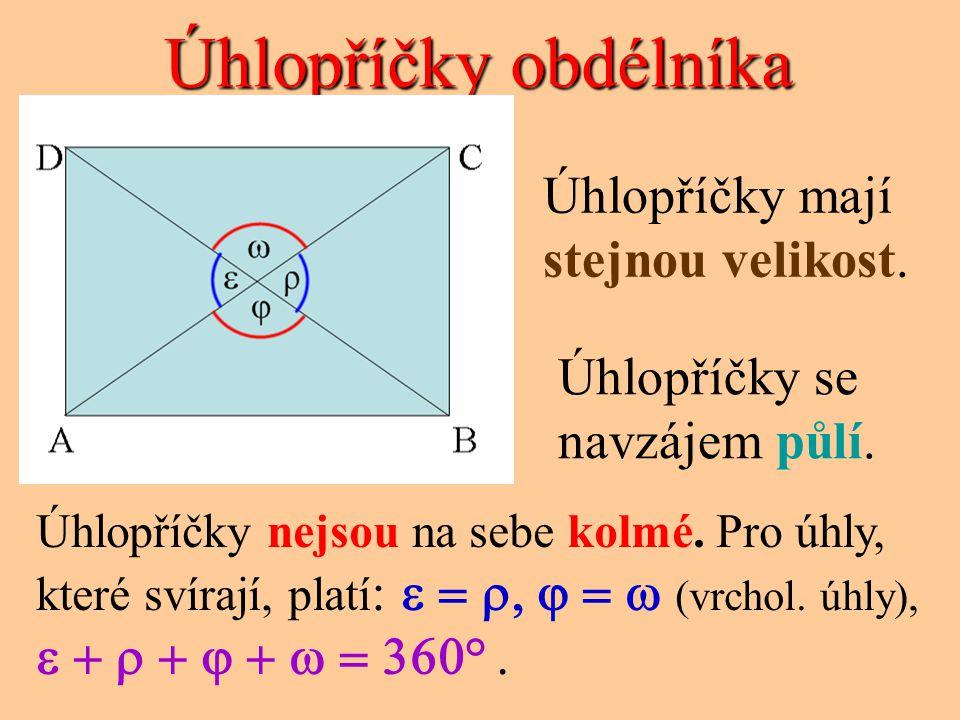Souměrnost obdélníka CD AB o4o4 o2o2 Obdélník má 2 osy souměrnosti – osy stran.