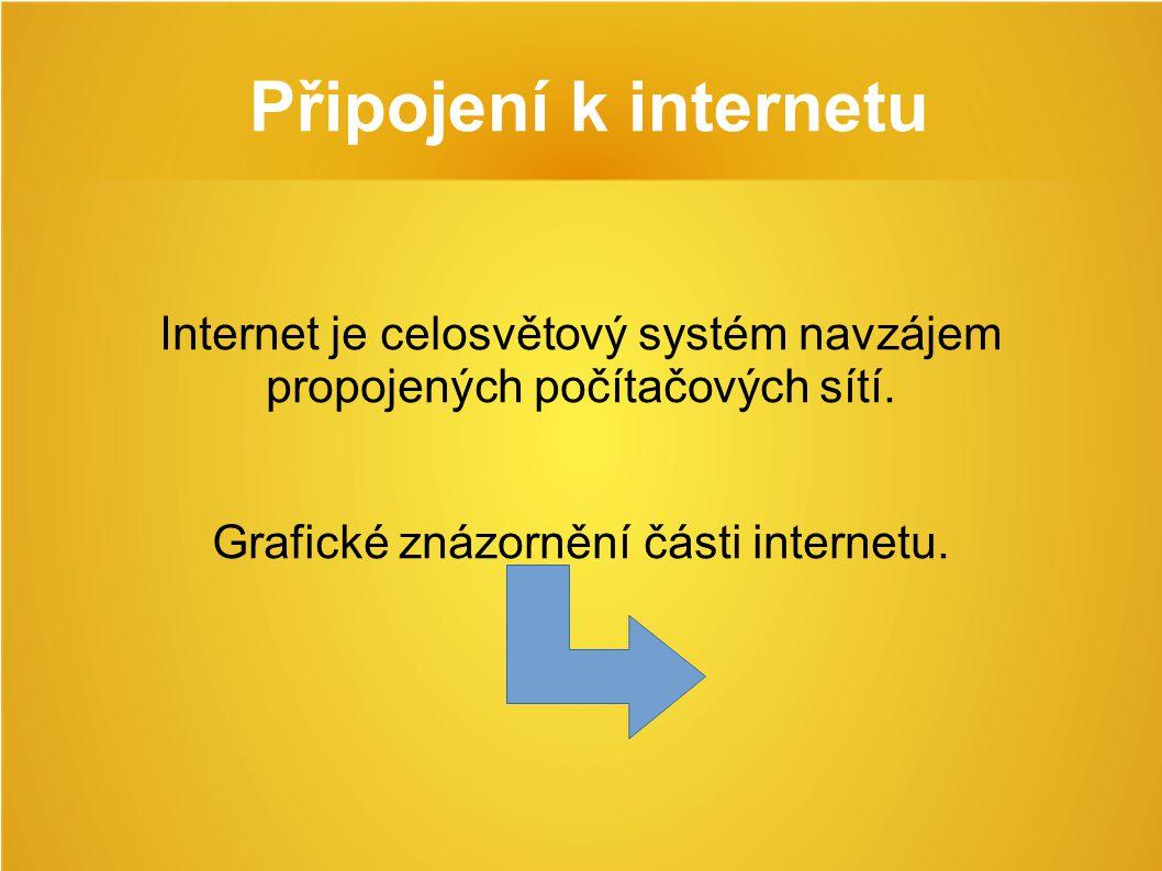 Připojení k internetu Internet je celosvětový systém navzájem propojených počítačových sítí.