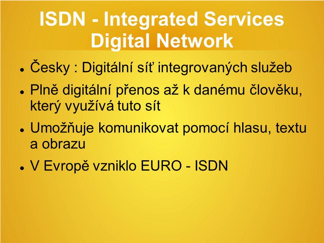 ISDN - Integrated Services Digital Network Česky : Digitální síť integrovaných služeb Plně digitální přenos až k danému člověku, který využívá tuto sít Umožňuje komunikovat pomocí hlasu, textu a obrazu V Evropě vzniklo EURO - ISDN