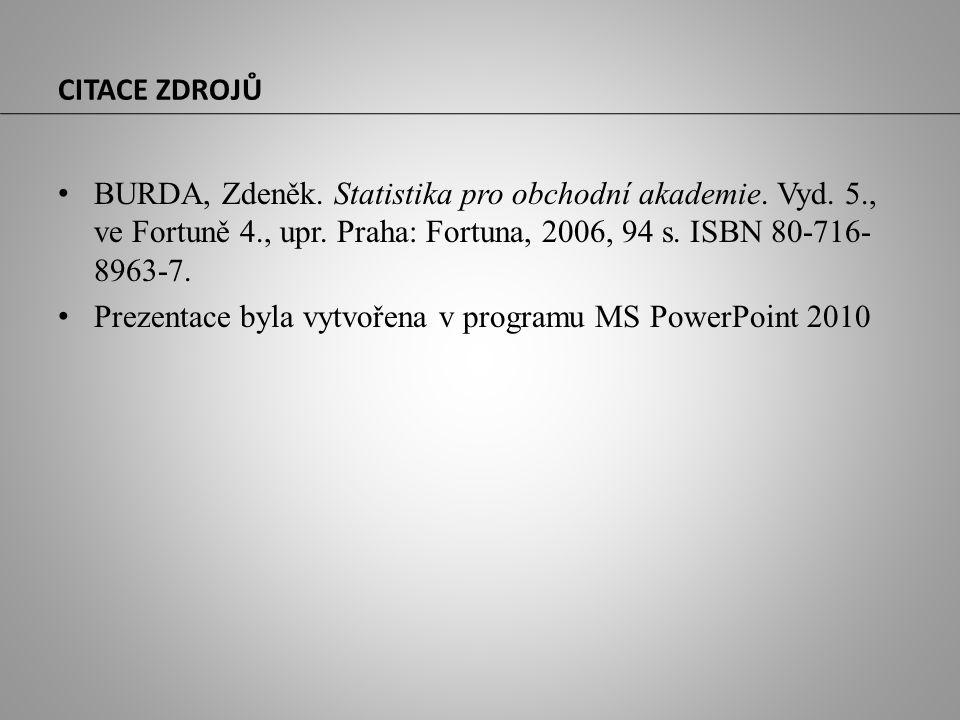 CITACE ZDROJŮ BURDA, Zdeněk. Statistika pro obchodní akademie. Vyd. 5., ve Fortuně 4., upr. Praha: Fortuna, 2006, 94 s. ISBN 80-716- 8963-7. Prezentac