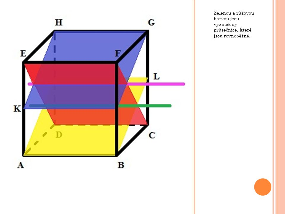 Zelenou a růžovou barvou jsou vyznačeny průsečnice, které jsou rovnoběžné.