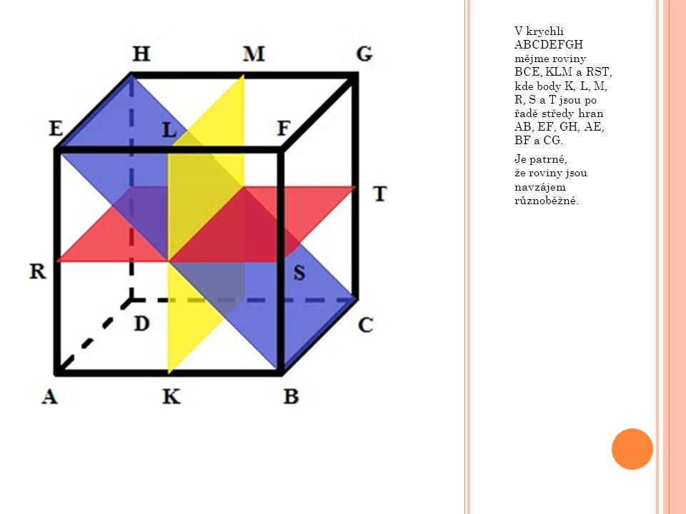 V krychli ABCDEFGH mějme roviny BCE, KLM a RST, kde body K, L, M, R, S a T jsou po řadě středy hran AB, EF, GH, AE, BF a CG. Je patrné, že roviny jsou