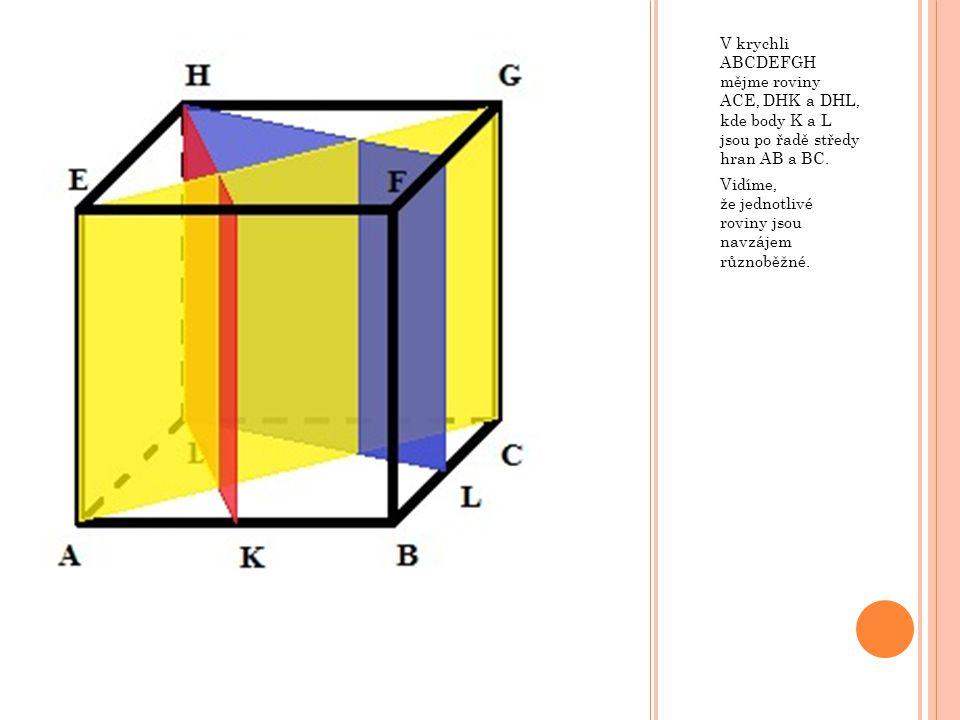 V krychli ABCDEFGH mějme roviny ACE, DHK a DHL, kde body K a L jsou po řadě středy hran AB a BC. Vidíme, že jednotlivé roviny jsou navzájem různoběžné