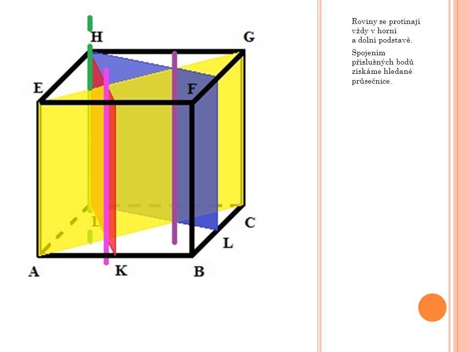 Roviny se protínají vždy v horní a dolní podstavě. Spojením příslušných bodů získáme hledané průsečnice.