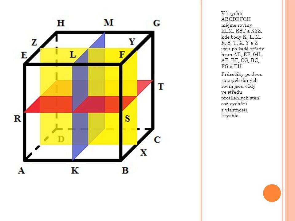 V krychli ABCDEFGH mějme roviny KLM, RST a XYZ, kde body K, L, M, R, S, T, X, Y a Z jsou po řadě středy hran AB, EF, GH, AE, BF, CG, BC, FG a EH. Průs
