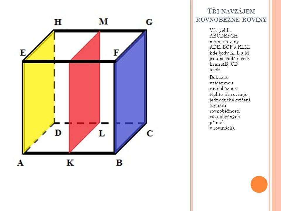 T ŘI NAVZÁJEM ROVNOBĚŽNÉ ROVINY V krychli ABCDEFGH mějme roviny ADE, BCF a KLM, kde body K, L a M jsou po řadě středy hran AB, CD a GH. Dokázat vzájem