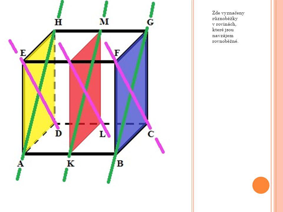 T ŘI NAVZÁJEM RŮZNOBĚŽNÉ ROVINY SE TŘEMI RŮZNÝMI PRŮSEČNICEMI V krychli ABCDEFGH mějme roviny ABC, ABL a CDK, kde body K a L jsou po řadě středy hran EH a FG.