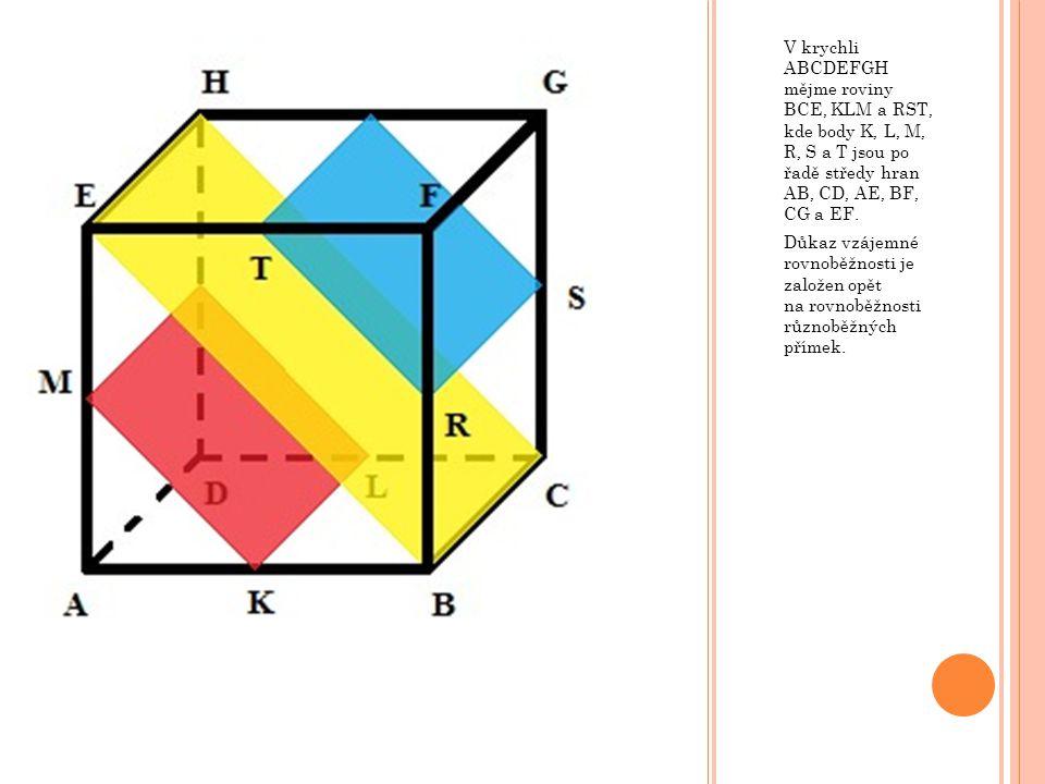 V krychli ABCDEFGH mějme roviny BCE, KLM a RST, kde body K, L, M, R, S a T jsou po řadě středy hran AB, CD, AE, BF, CG a EF. Důkaz vzájemné rovnoběžno