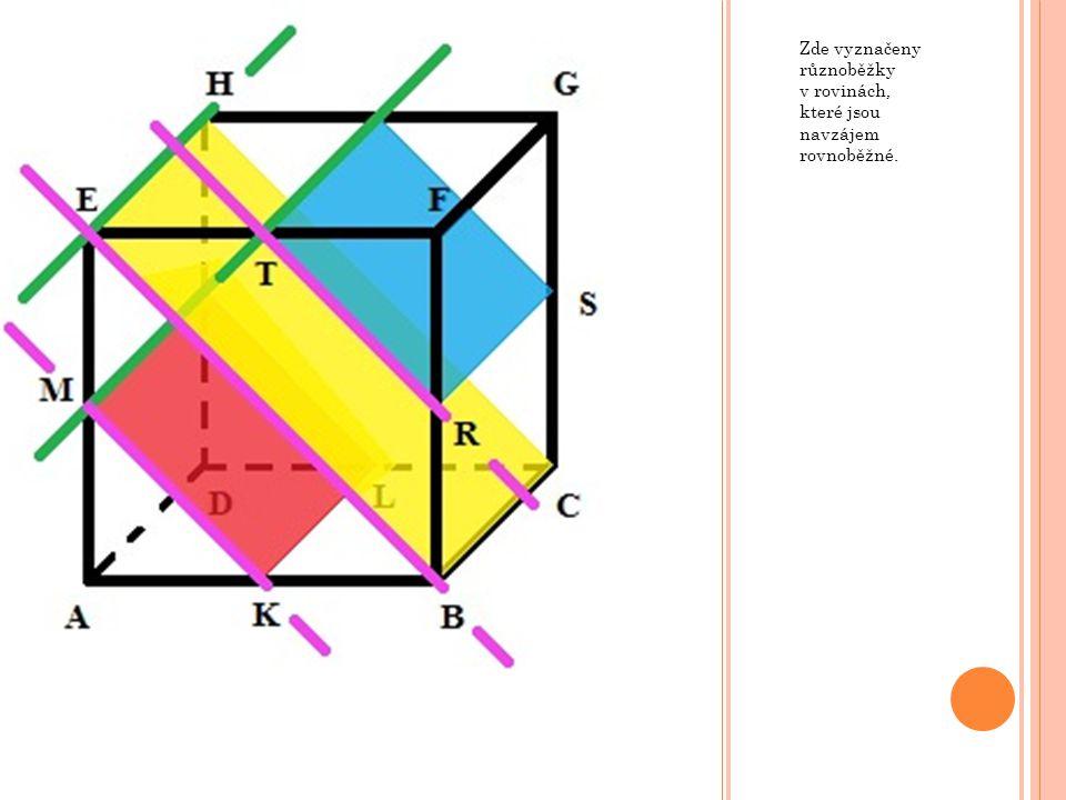 D VĚ ROVNOBĚŽNÉ ROVINY A TŘETÍ RŮZNOBĚŽNÁ V krychli ABCDEFGH mějme roviny ABC, BCF a EFG.