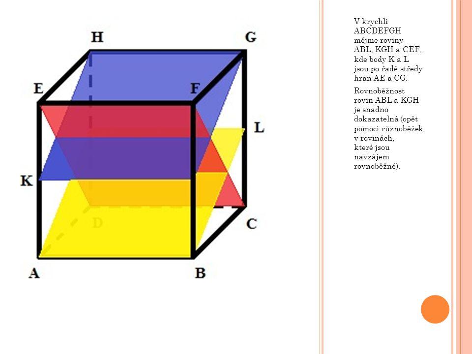 V krychli ABCDEFGH mějme roviny ABL, KGH a CEF, kde body K a L jsou po řadě středy hran AE a CG. Rovnoběžnost rovin ABL a KGH je snadno dokazatelná (o