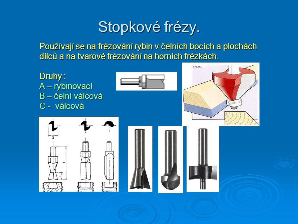 Stopkové frézy. Používají se na frézování rybin v čelních bocích a plochách dílců a na tvarové frézování na horních frézkách. Druhy : A – rybinovací B