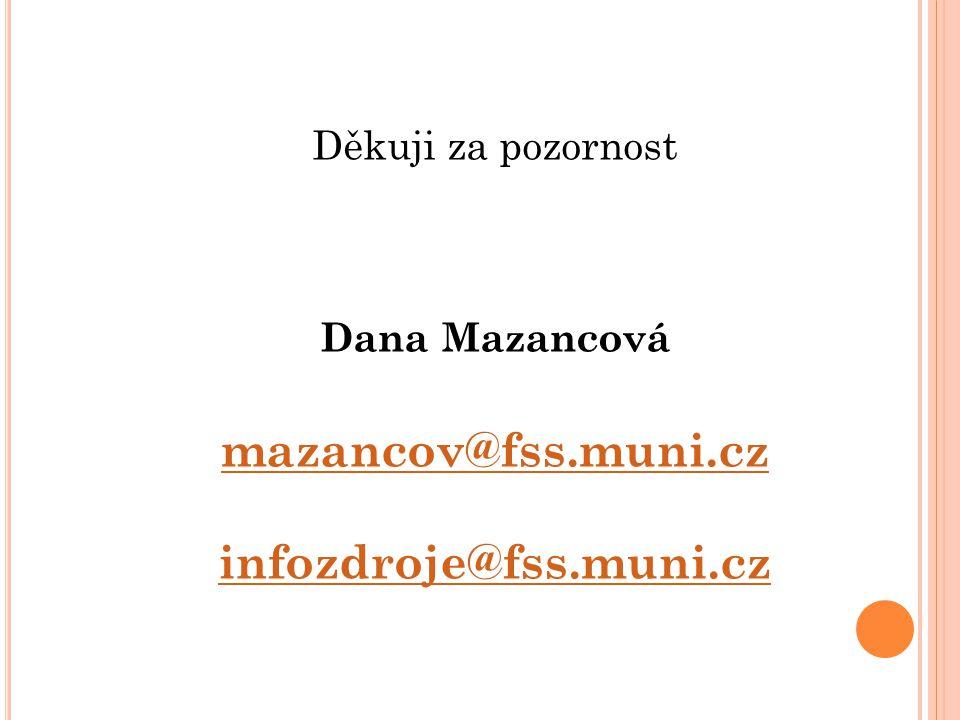 Děkuji za pozornost Dana Mazancová mazancov@fss.muni.cz infozdroje@fss.muni.cz