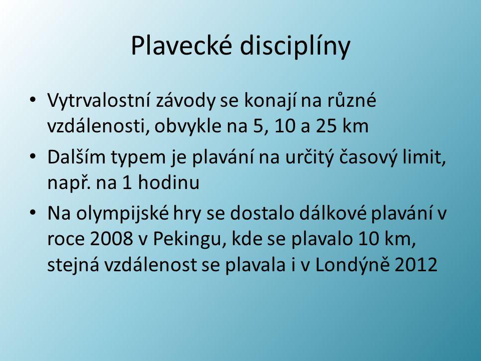Plavecké disciplíny Vytrvalostní závody se konají na různé vzdálenosti, obvykle na 5, 10 a 25 km Dalším typem je plavání na určitý časový limit, např.