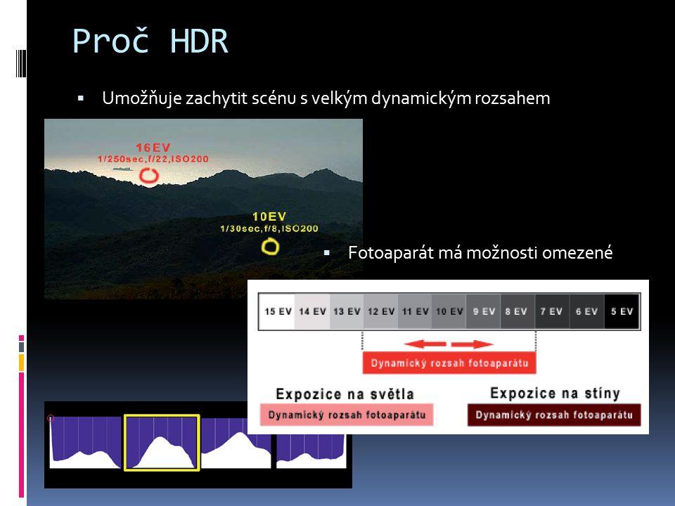 Proč HDR  Umožňuje zachytit scénu s velkým dynamickým rozsahem  Fotoaparát má možnosti omezené