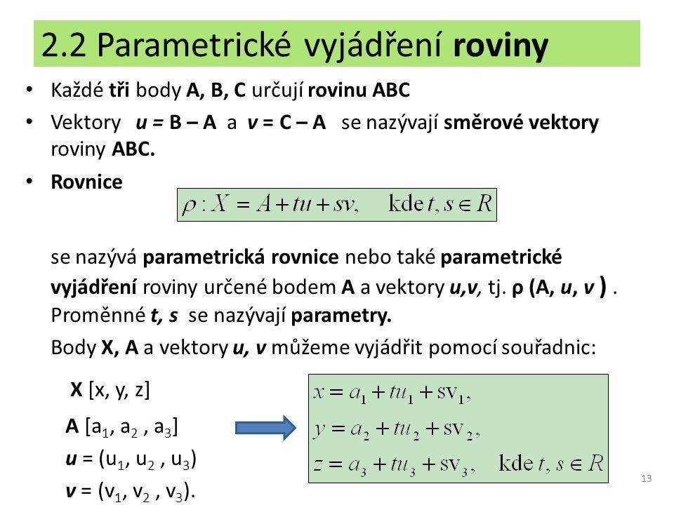 2.2 Parametrické vyjádření roviny Každé tři body A, B, C určují rovinu ABC Vektory u = B – A a v = C – A se nazývají směrové vektory roviny ABC. Rovni