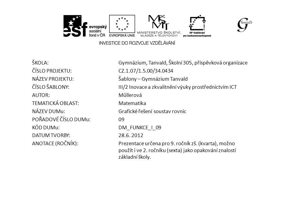 ŠKOLA:Gymnázium, Tanvald, Školní 305, příspěvková organizace ČÍSLO PROJEKTU:CZ.1.07/1.5.00/34.0434 NÁZEV PROJEKTU:Šablony – Gymnázium Tanvald ČÍSLO ŠABLONY:III/2 Inovace a zkvalitnění výuky prostřednictvím ICT AUTOR:Müllerová TEMATICKÁ OBLAST: Matematika NÁZEV DUMu:Grafické řešení soustav rovnic POŘADOVÉ ČÍSLO DUMu:09 KÓD DUMu:DM_FUNKCE_I_09 DATUM TVORBY:28.6.
