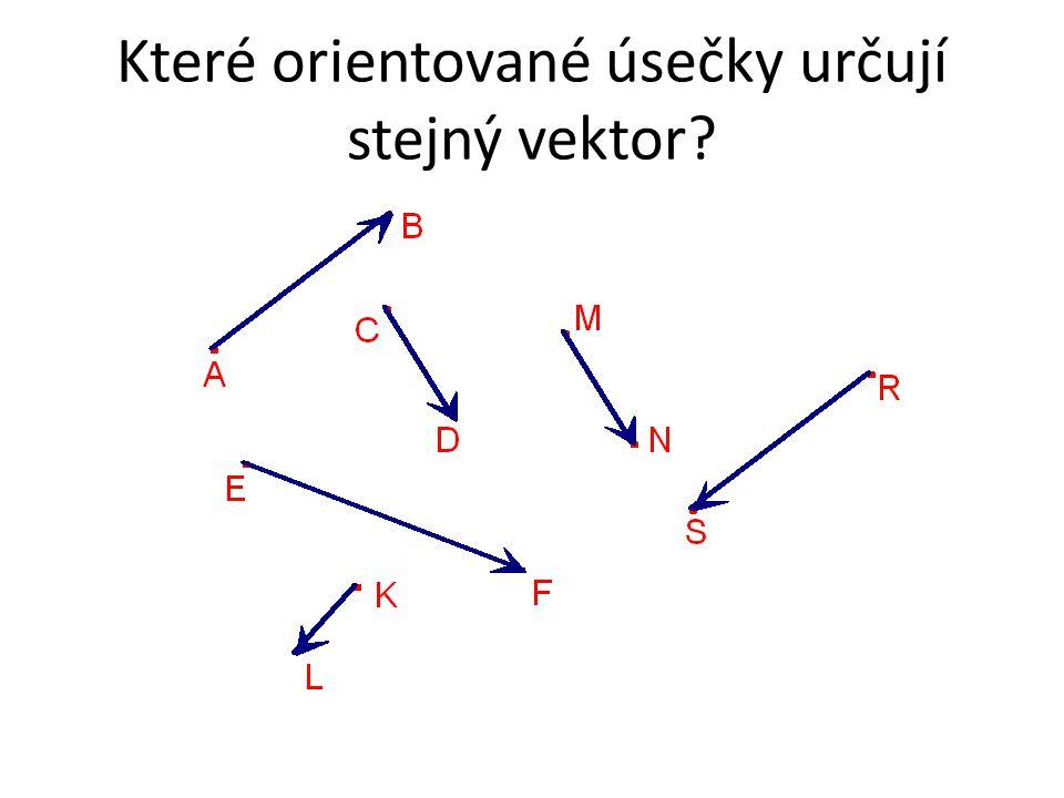 Které orientované úsečky určují stejný vektor?