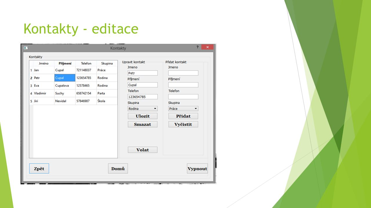 Kontakty - editace