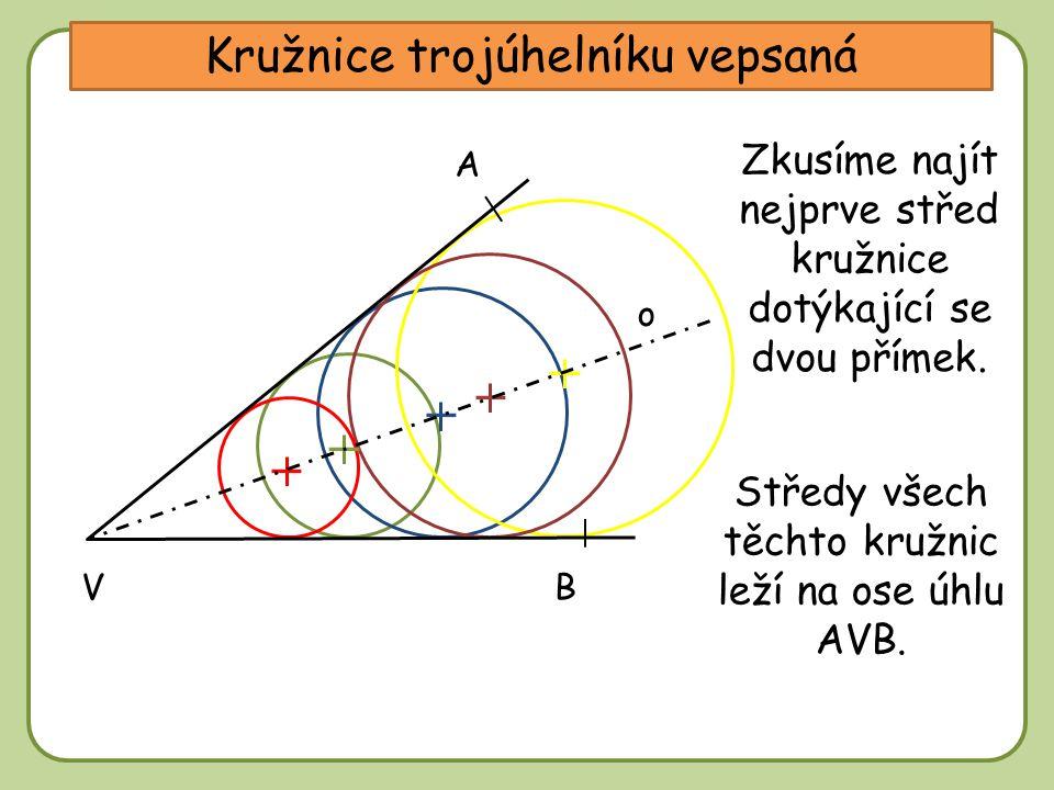 Kružnice trojúhelníku vepsaná A B Zkusíme najít nejprve střed kružnice dotýkající se dvou přímek. Středy všech těchto kružnic leží na ose úhlu AVB. o