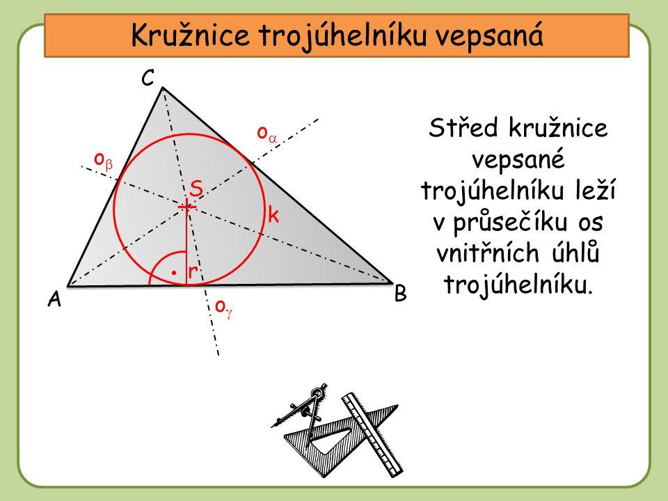 DDtěžnice Kružnice trojúhelníku vepsaná A C B oo oo oo Střed kružnice vepsané trojúhelníku leží v průsečíku os vnitřních úhlů trojúhelníku.