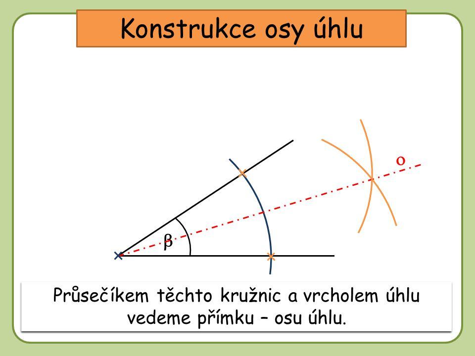 DD Konstrukce osy úhlu Sestrojíme kružnici s libovolným poloměrem a se středem ve vrcholu úhlu.   V průsečících této kružnice s rameny úhlu sestrojí
