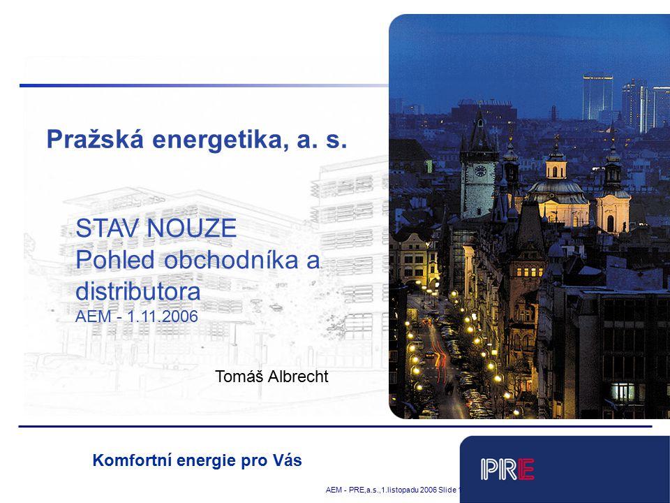 Tobias Schnadt AEM - PRE,a.s.,1.listopadu 2006 Slide 1 Komfortní energie pro Vás Pražská energetika, a.
