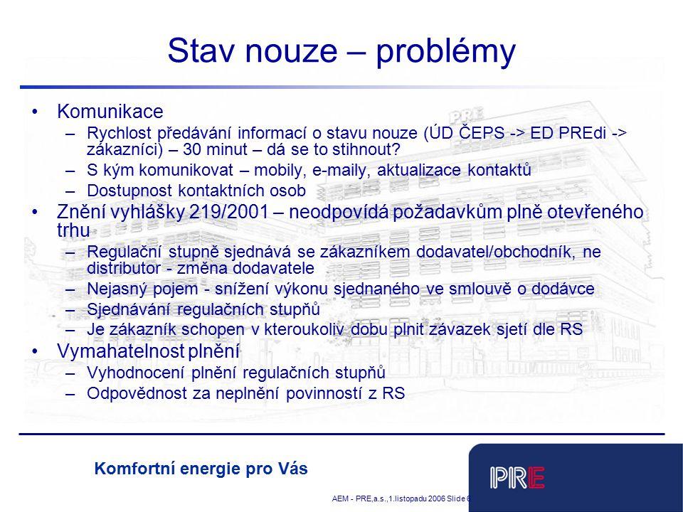 Tobias Schnadt AEM - PRE,a.s.,1.listopadu 2006 Slide 6 Komfortní energie pro Vás Stav nouze – problémy Komunikace –Rychlost předávání informací o stavu nouze (ÚD ČEPS -> ED PREdi -> zákazníci) – 30 minut – dá se to stihnout.