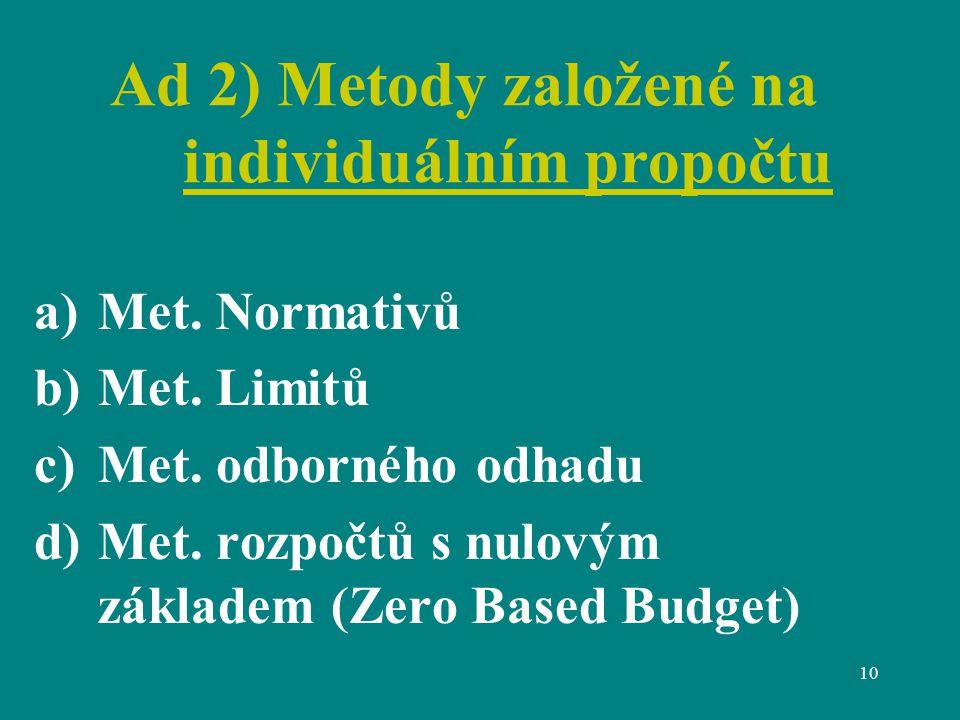 10 Ad 2) Metody založené na individuálním propočtu a)Met.
