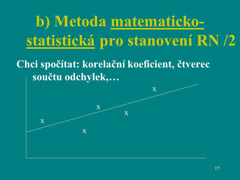 17 b) Metoda matematicko- statistická pro stanovení RN /2 Chci spočítat: korelační koeficient, čtverec součtu odchylek,… x x x x x