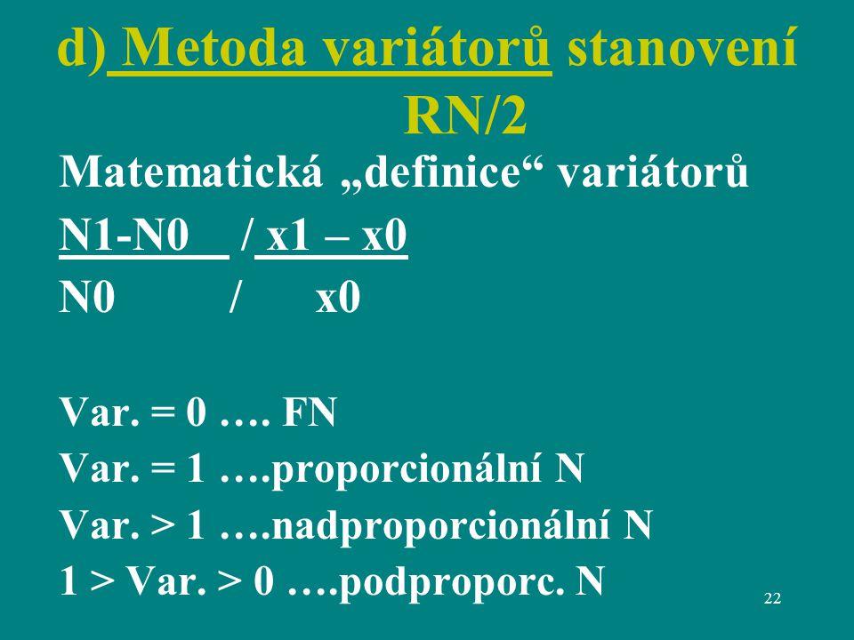 """22 d) Metoda variátorů stanovení RN/2 Matematická """"definice variátorů N1-N0 / x1 – x0 N0/x0 Var."""