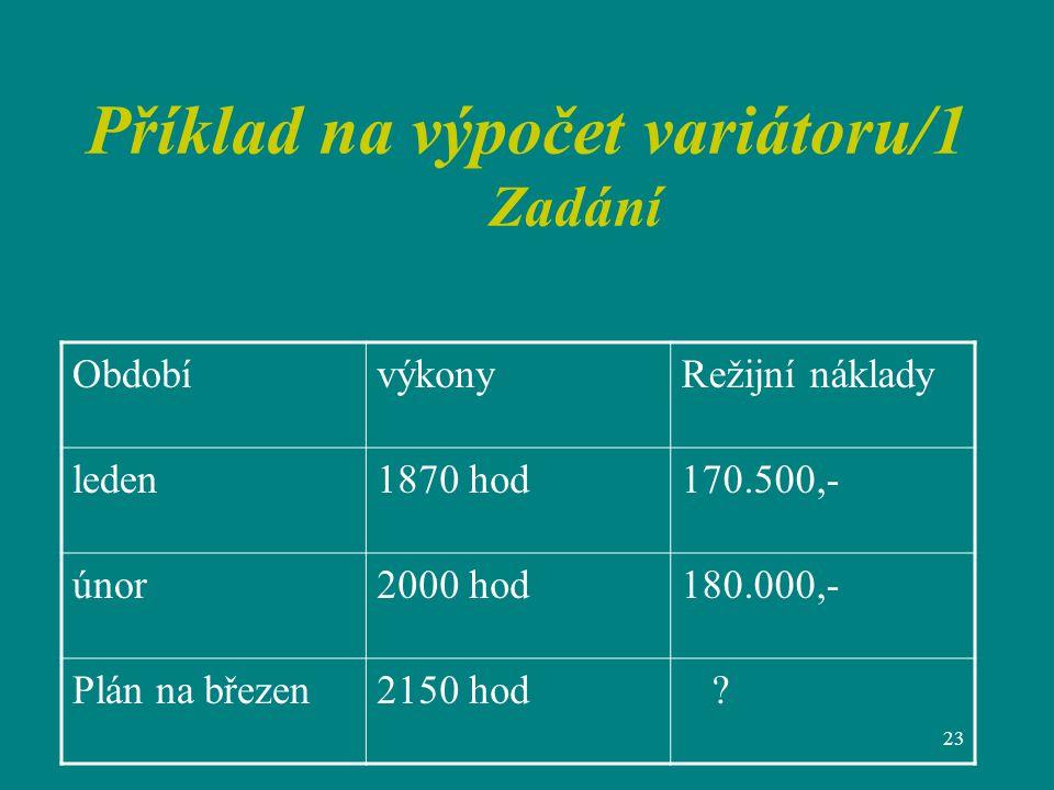 23 Příklad na výpočet variátoru/1 Zadání ObdobívýkonyRežijní náklady leden1870 hod170.500,- únor2000 hod180.000,- Plán na březen2150 hod