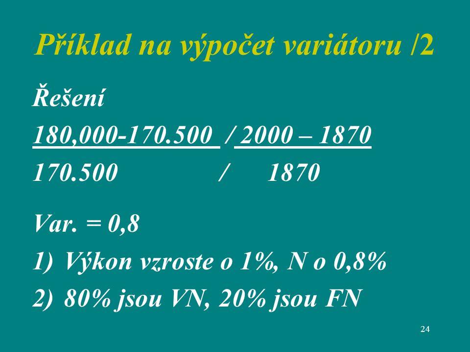 24 Příklad na výpočet variátoru /2 Řešení 180,000-170.500 / 2000 – 1870 170.500 /1870 Var.
