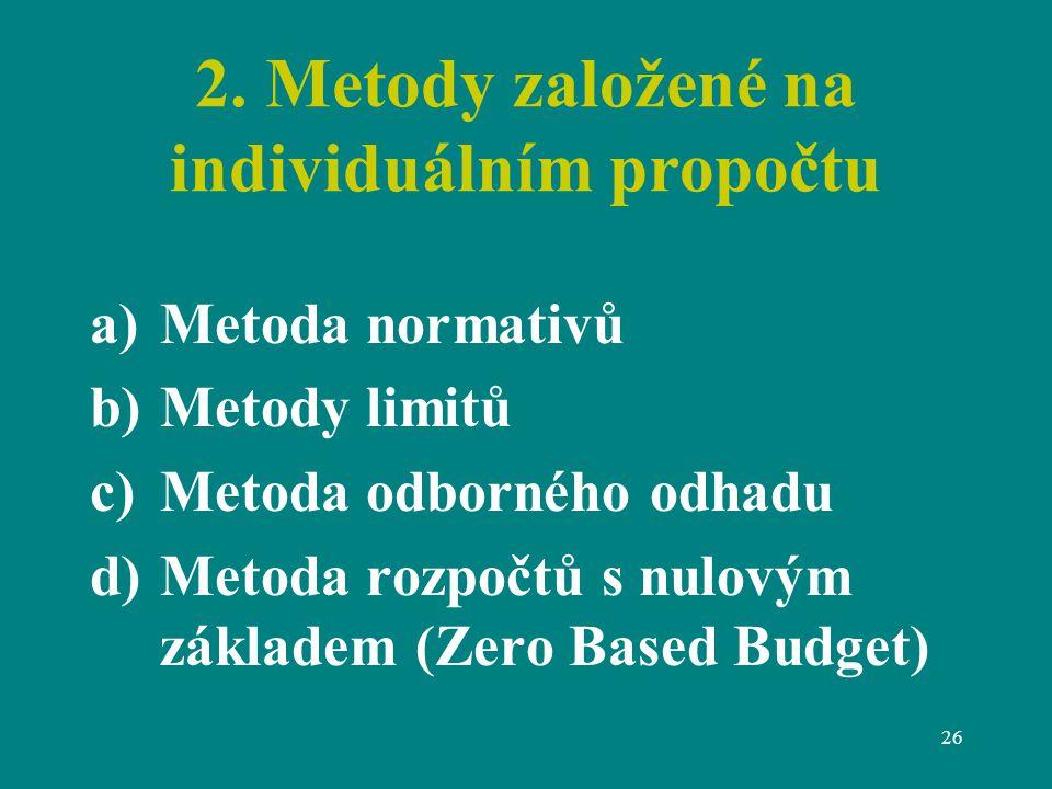 26 2. Metody založené na individuálním propočtu a)Metoda normativů b)Metody limitů c)Metoda odborného odhadu d)Metoda rozpočtů s nulovým základem (Zer