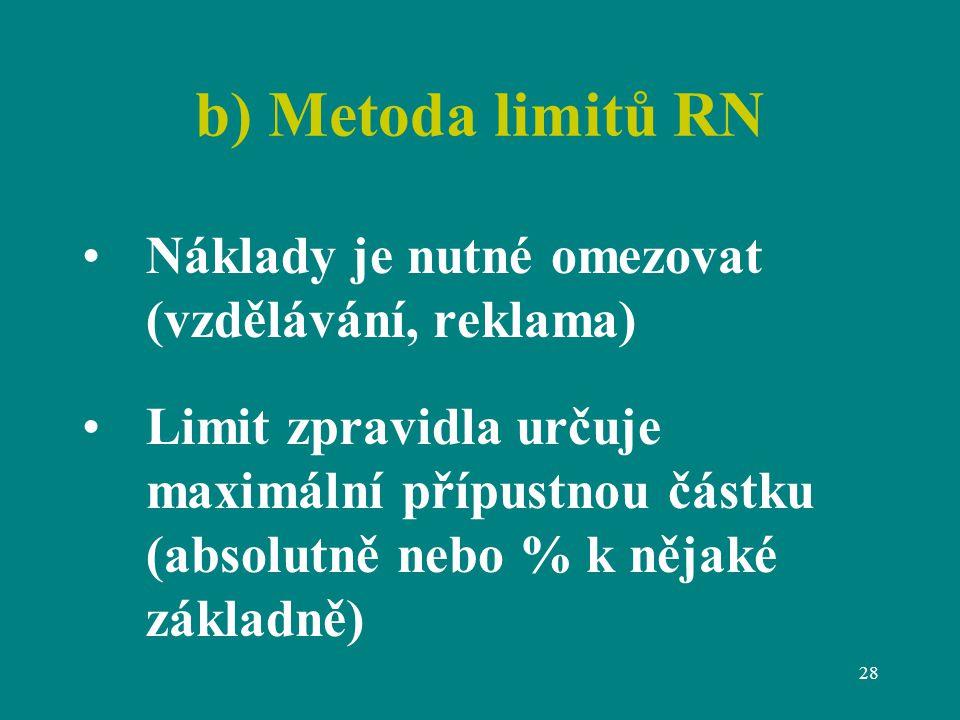 28 b) Metoda limitů RN Náklady je nutné omezovat (vzdělávání, reklama) Limit zpravidla určuje maximální přípustnou částku (absolutně nebo % k nějaké základně)