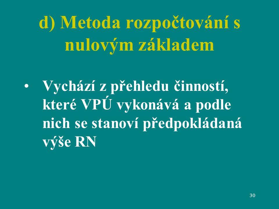 30 d) Metoda rozpočtování s nulovým základem Vychází z přehledu činností, které VPÚ vykonává a podle nich se stanoví předpokládaná výše RN