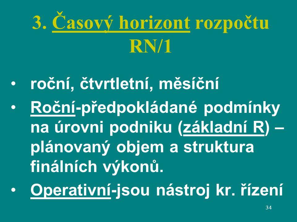 34 3. Časový horizont rozpočtu RN/1 roční, čtvrtletní, měsíční Roční-předpokládané podmínky na úrovni podniku (základní R) – plánovaný objem a struktu