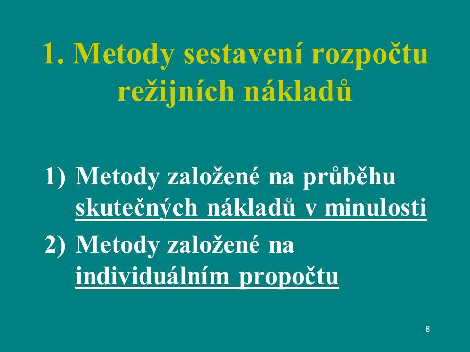 8 1. Metody sestavení rozpočtu režijních nákladů 1)Metody založené na průběhu skutečných nákladů v minulosti 2)Metody založené na individuálním propoč