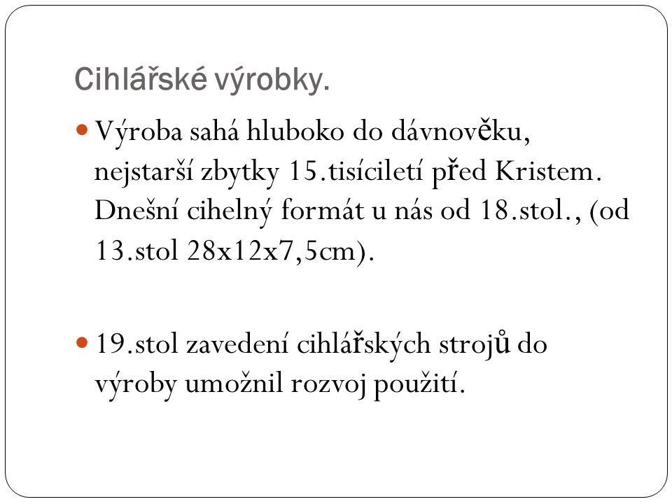 Výroba sahá hluboko do dávnov ě ku, nejstarší zbytky 15.tisíciletí p ř ed Kristem. Dnešní cihelný formát u nás od 18.stol., (od 13.stol 28x12x7,5cm).