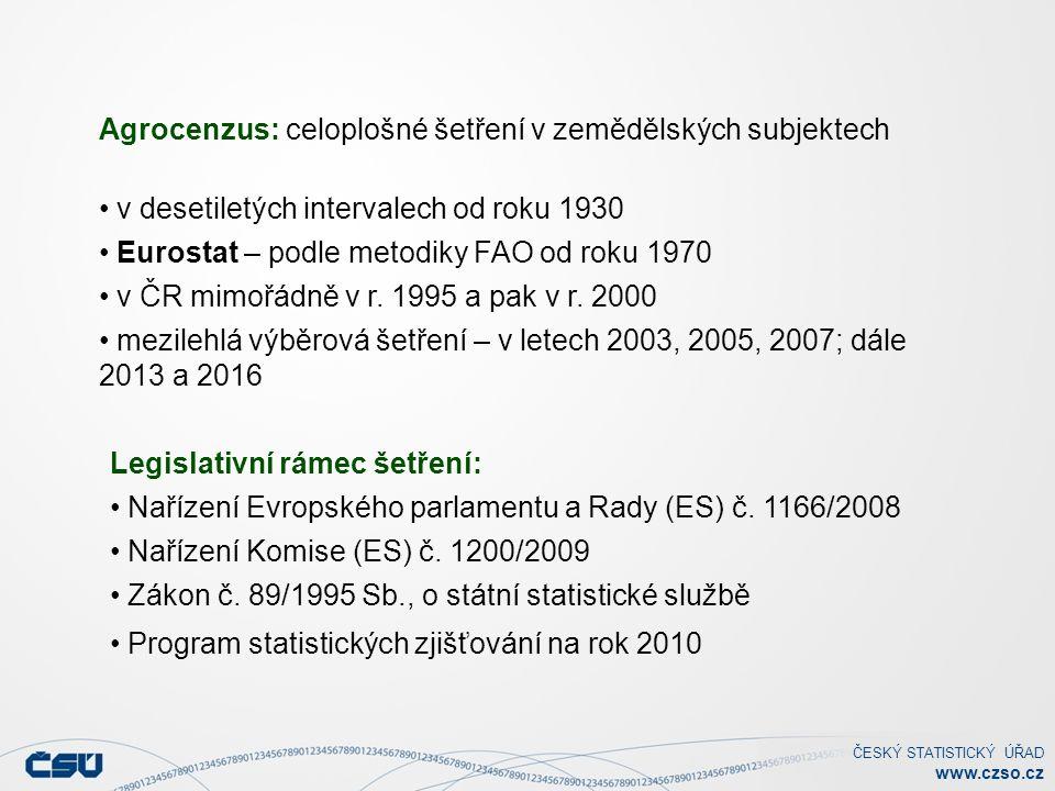 ČESKÝ STATISTICKÝ ÚŘAD www.czso.cz Legislativní rámec šetření: Nařízení Evropského parlamentu a Rady (ES) č.