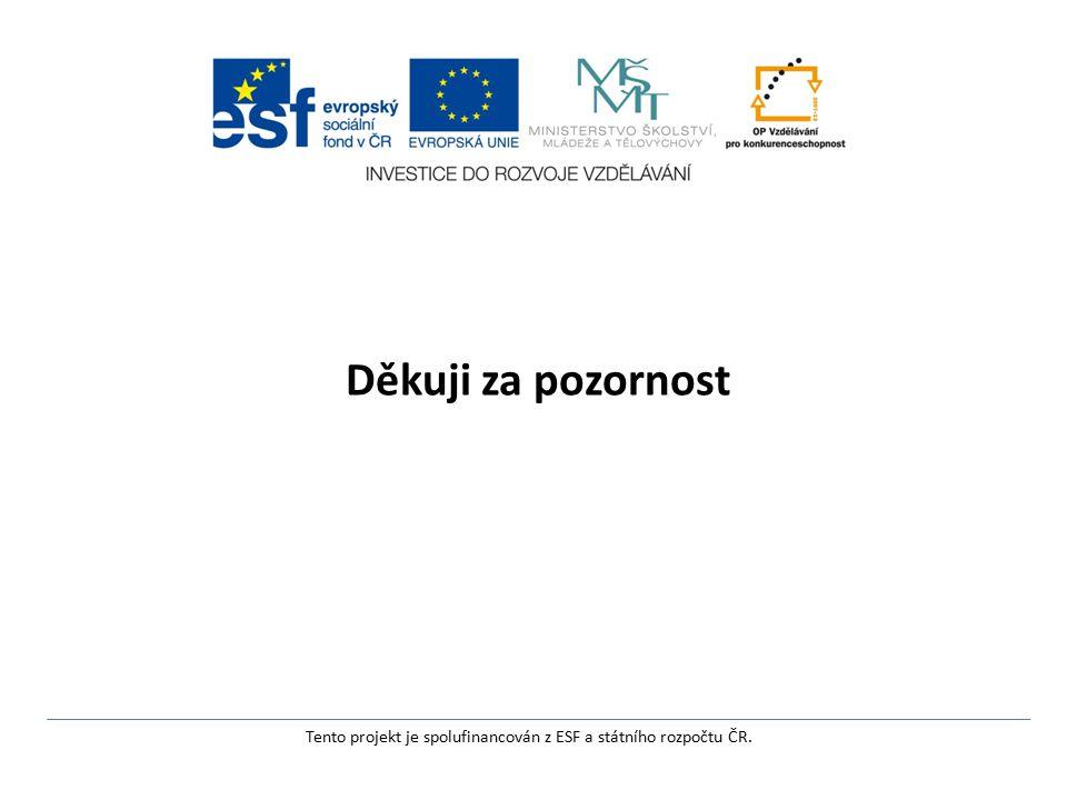 Děkuji za pozornost Tento projekt je spolufinancován z ESF a státního rozpočtu ČR.