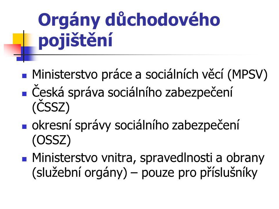 Orgány důchodového pojištění Ministerstvo práce a sociálních věcí (MPSV) Česká správa sociálního zabezpečení (ČSSZ) okresní správy sociálního zabezpeč