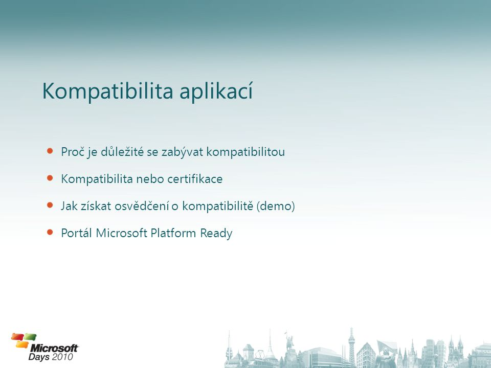 Proč je důležité se zabývat kompatibilitou Reflexe platformy pro kterou vyvíjíme – využití možností OS Snížení budoucích nákladů na řešení incidentů týkajících se interakce s platformou Posouzení možností implementace na více verzí OS Možnost zviditelnění prostřednictvím získaných certifikací – zvýšení prestiže.....