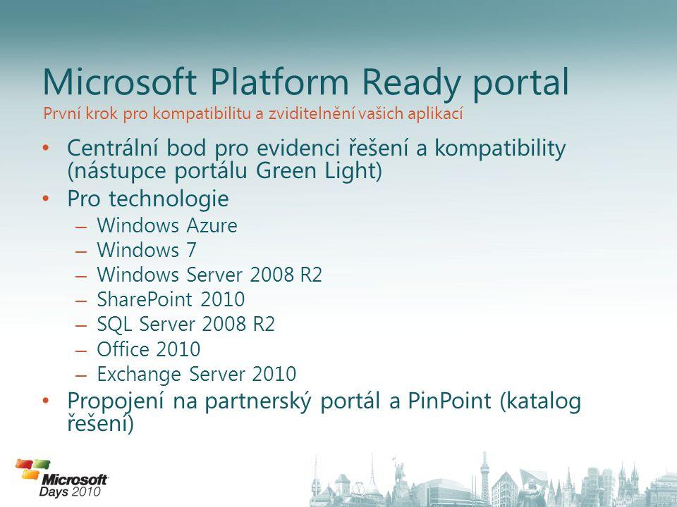Aktuální stav na MPR Aktuální stav Windows 7 Compatible with Celkem vyprofilováno 160 aplikací/125 partnerů Windows 7 : 123 aplikací kompatibilních, 15 nově registrovaných SQL Server 2008 R2 : 16 / 15 Windows Server 2008 R2 : 44 / 16 Celkem 79 aplikací s logem od 49 partnerů
