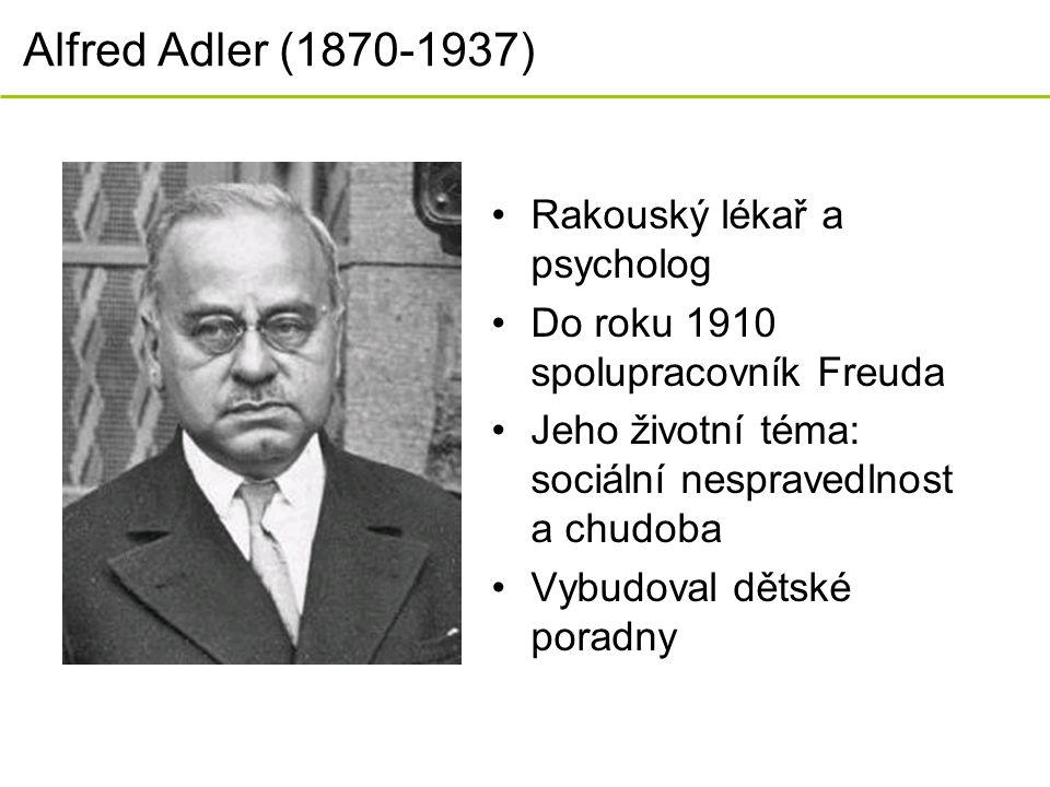 Alfred Adler (1870-1937) Rakouský lékař a psycholog Do roku 1910 spolupracovník Freuda Jeho životní téma: sociální nespravedlnost a chudoba Vybudoval