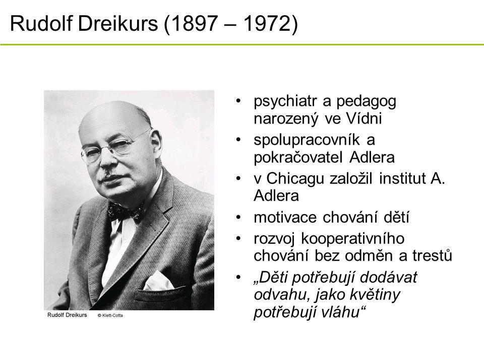Rudolf Dreikurs (1897 – 1972) psychiatr a pedagog narozený ve Vídni spolupracovník a pokračovatel Adlera v Chicagu založil institut A. Adlera motivace