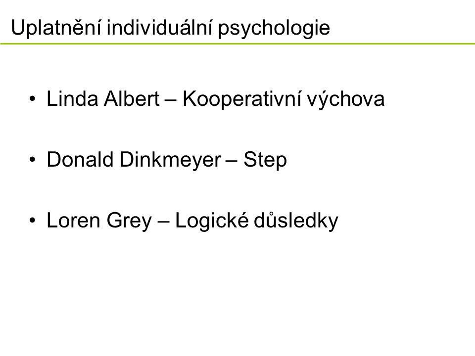 Uplatnění individuální psychologie Linda Albert – Kooperativní výchova Donald Dinkmeyer – Step Loren Grey – Logické důsledky