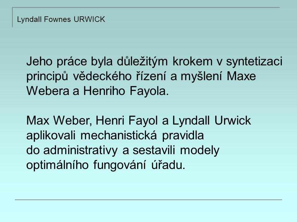 Jeho práce byla důležitým krokem v syntetizaci principů vědeckého řízení a myšlení Maxe Webera a Henriho Fayola.
