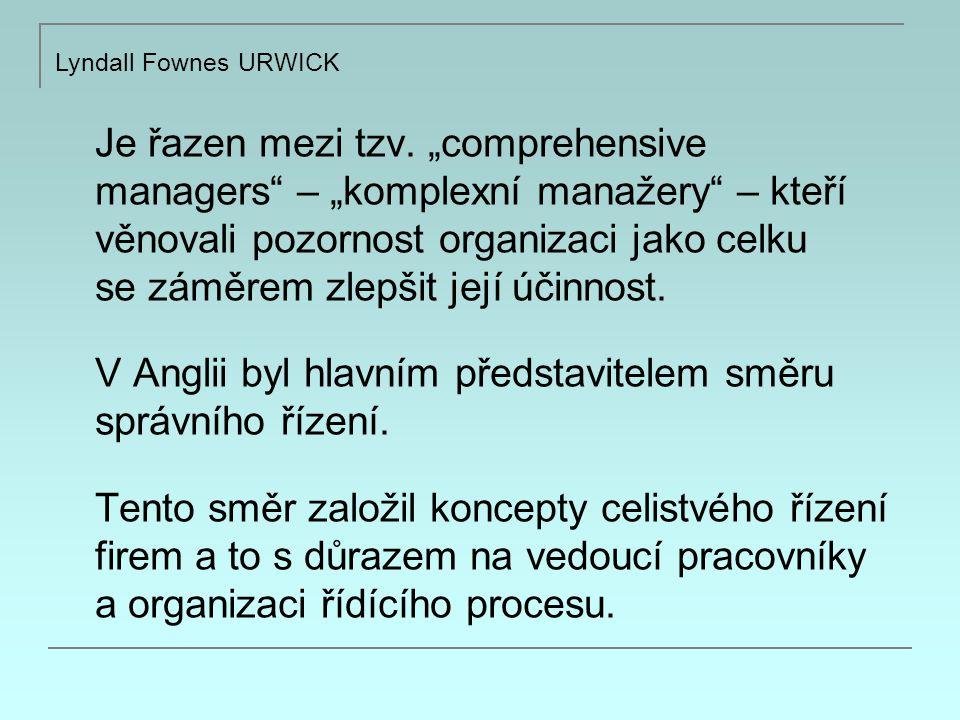 Urwick věřil, že činnosti nezbytné k dosažení cílů organizace by měly být rozděleny a přiděleny jednotlivcům neosobním způsobem v návaznosti na oddělení nestranné byrokracie Maxe Webera.