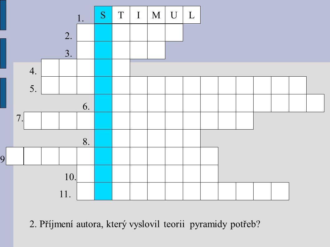 TIMULS 1. 2. 3. 4. 5. 6. 7. 8. 9. 10. 11. 2. Příjmení autora, který vyslovil teorii pyramidy potřeb? 9